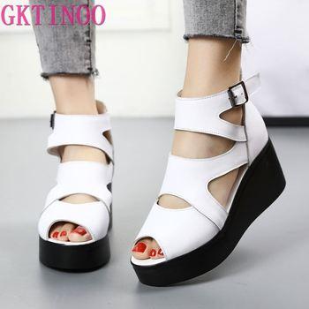 GKTINOO Women Flat Platform Sandals 2020 Summer Genuine Leather Handmade Shoes Slip on Ladies Sandal
