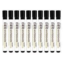 10pcs Black Dry Wipe Premium Marker Pens Erasable White Board Marker Pens Metting Classroom Teaching Supply White Board Marker