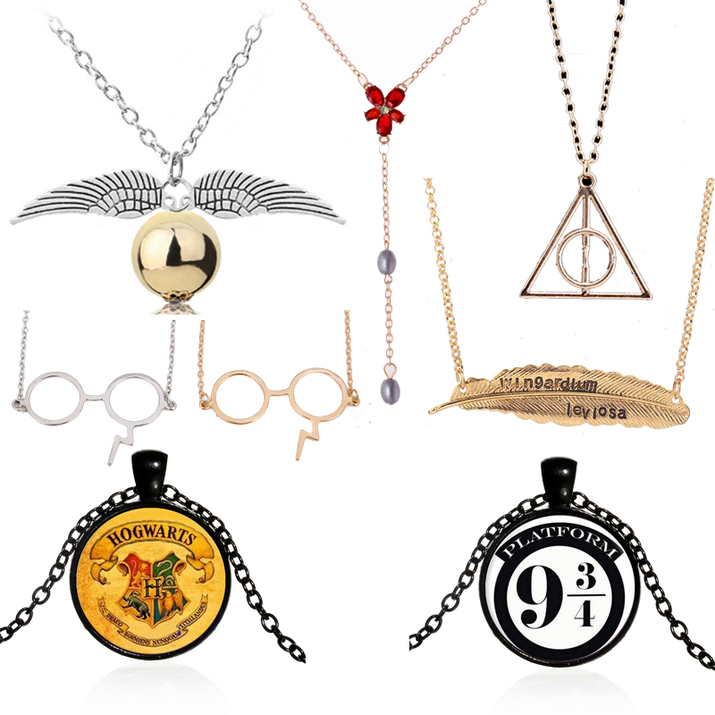 Harry leaf electric glass wand pendant <font><b>necklace</b></font> harri <font><b>Hogwarts</b></font> 9 three quarters hourglass Hermione Granger time turner pendant image