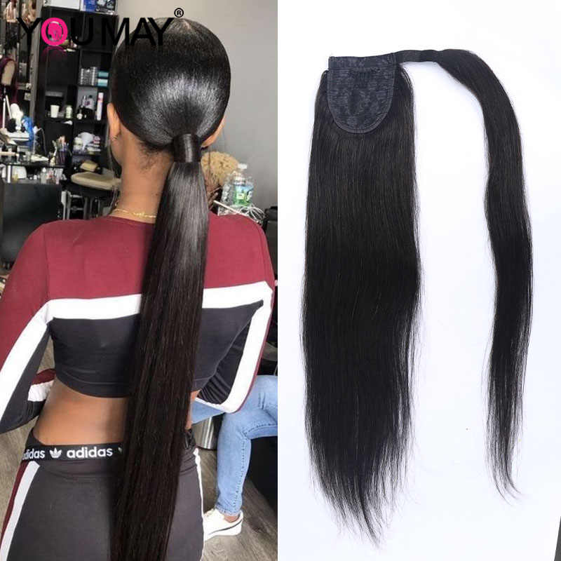 Wrap at kuyruğu düz kadınlar için doğal siyah sarma at kuyruğu klip insan saçı postiş YouMay bakire saç