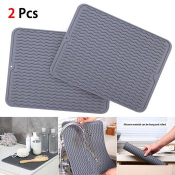 2pcs Pad Table Tray Non-Slip Heat Resistant Home Silicone Kitchen Utensils Thickened Rectangle Drying Dishes Drain Mat Foldable silicone drain mat water coaster placemat table mat kitchen tool heat resistant non slip tray home kitchen dishwashing drain mat
