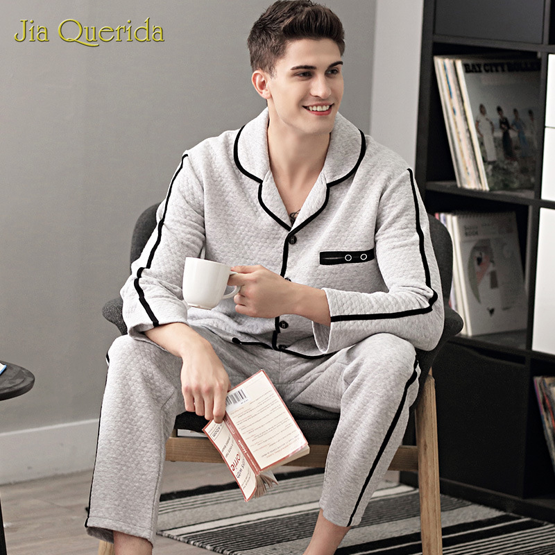Sleepwear Men's Autumn Winter New Long Sleeve Thermostat Pajama Three-Layer 100% Cotton Padded Leisure Home Wear Men's Sleepwear