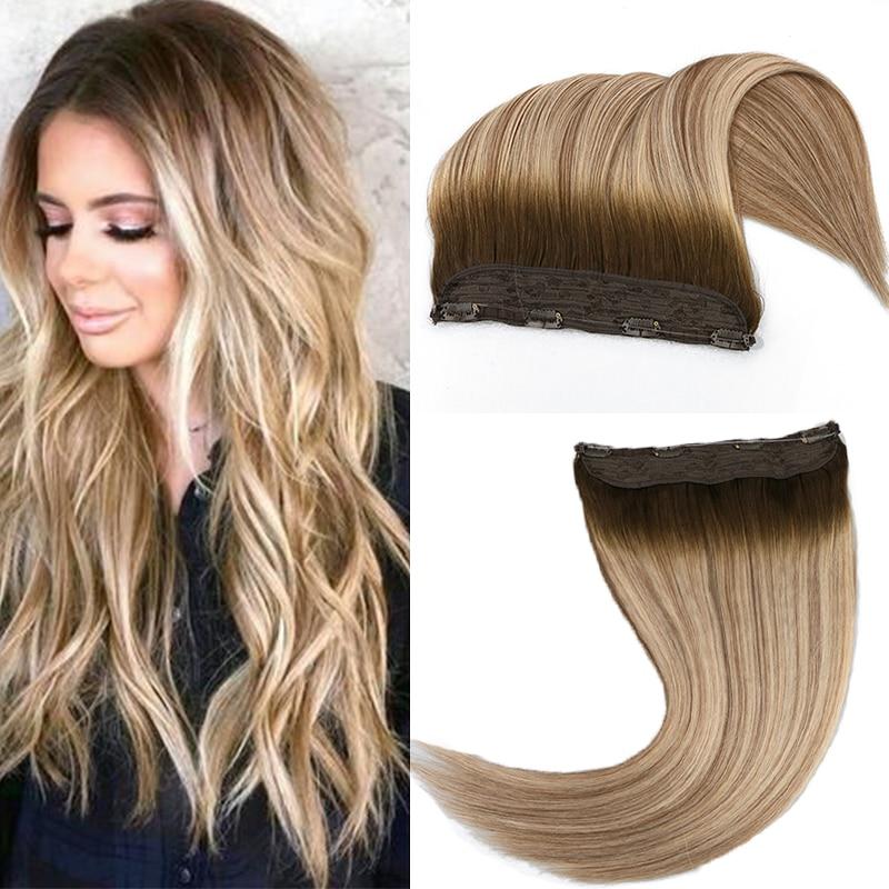 Extensões brasileiras do cabelo do halo de toysww máquina feita remy extensões de cabelo humano bayalage cor uma parte com 4 clipes