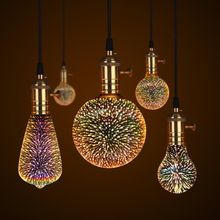 Теплые 3d звезда Светодиодная лампа эффект фейерверка Винтаж