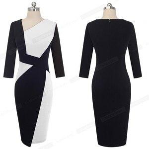 Image 4 - 素敵な永遠のヴィンテージコントラスト色パッチワーク着用して作業する vestidos ビジネスパーティーボディコンオフィスエレガントな女性ドレス B517