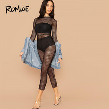 ROMWE Sheer Fishnet Mesh Skinny Sexy Jumpsuit Without Lingerie Round Neck Long Sleeve Jumpsuits For Women 2019 Black Jumpsuit