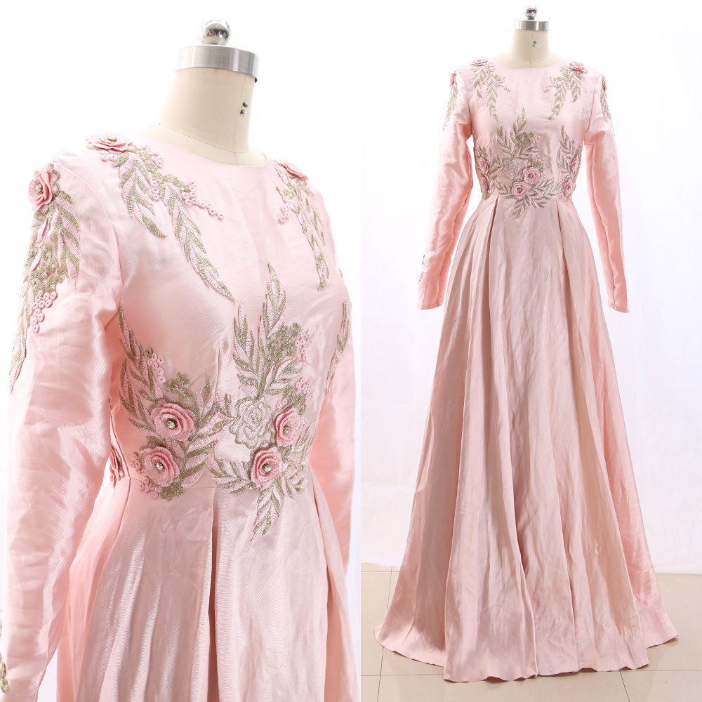 MACloth Pink A-Line O Neck Floor-Length Long Crystal Satin   Prom     Dresses     Dress   M 266141 Clearance