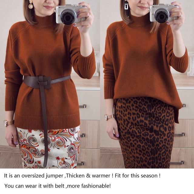 Женский свободный пуловер с воротником  4