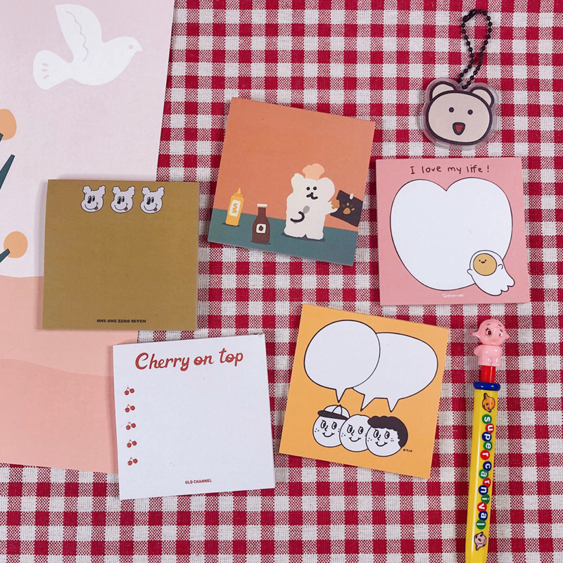 50Sheets/Pack Kawaii Korean INS Lovely Bear Heart Cherry Memo Pad N Times Sticky Notes Portable Notepad School Office Supply