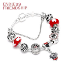 High Quality Mickey Mouse Charm Brand Bracelets Bangle Fashion Original European Style DIY Red Minnie Beads Bracelet For Women