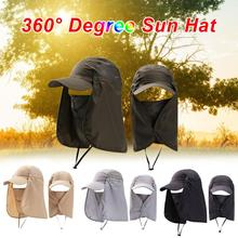 Summer Sun Hat Protection Caps Flap 360°Outdoor Fishing with Removable Neck Face Cover UPF 50+ Cap For Men And Women