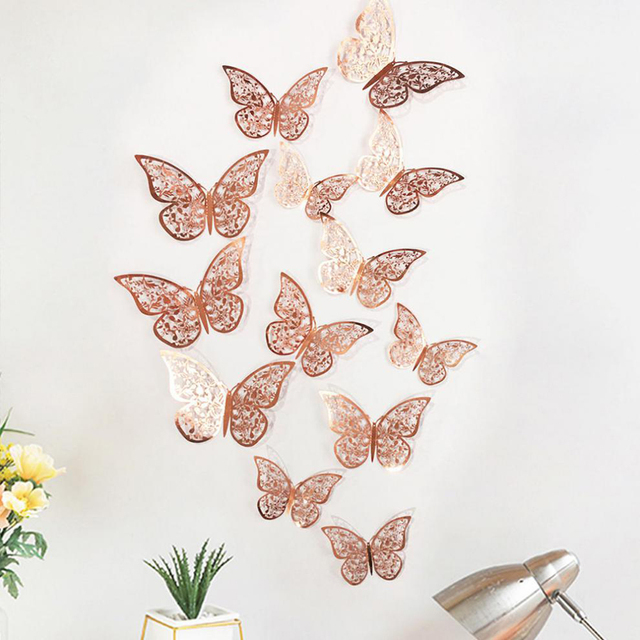 12Pcs 4D Hollow Butterfly Wall Sticker DIY Home Decoration Wall Stickers wedding Party Wedding Decors Butterfly Kids Room Decors 2