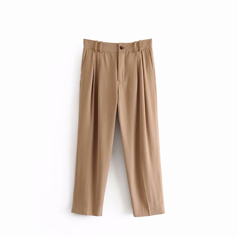 Trousers Straight-Pants Pleat Leisure-Pockets Elastic-Waist Professional P535 Women Ankle-Length