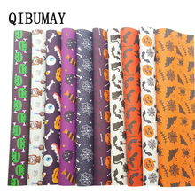 QIBUMAY Vinyl Fabric Halloween PU Leather Sheets Pumpkin Monster Printed Faux for Bows 22*30cm Synthetic