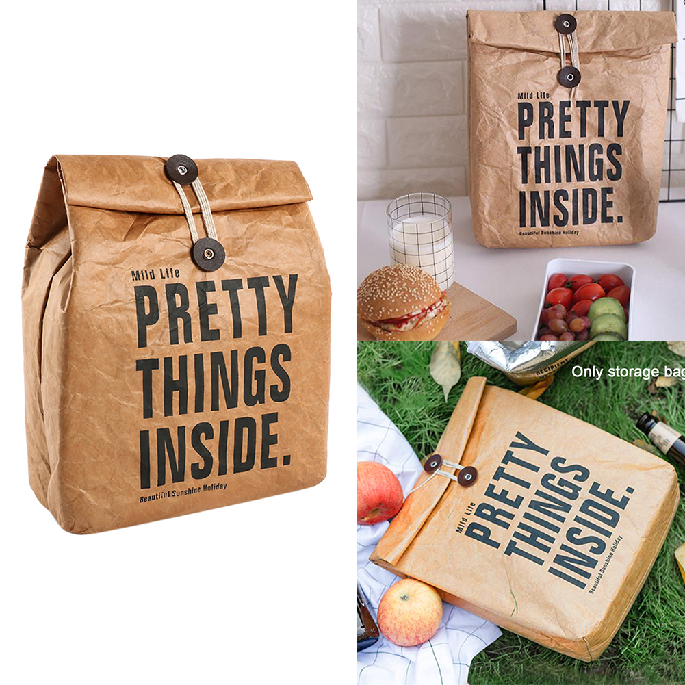 Cooler Box Non Toxic Food Storage Practical Travel Reusable Outdoor Activities Camping Washable Insulated Lunch Bag Brown Paper|Lunch Boxes| |  - title=
