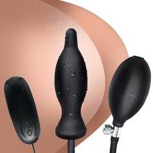 10 Частотная Вибрация надувная Анальная пробка силикагель расширение заднего двора анальный штекер для мужчин и женщин для SM взрослых крест-границы Supp