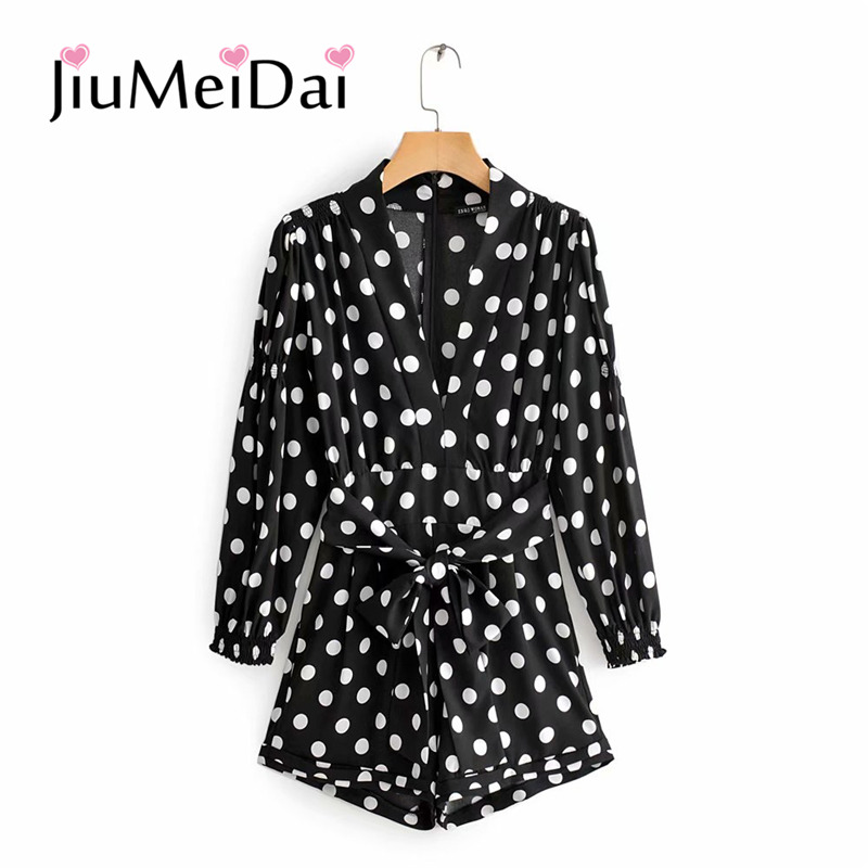 JiuMeiDai Deep V-Neck Sexy Jumpsuit Women Classic Black Dot Print Belt Slim Mini Playsuits Girl Fashion Beach Clothing