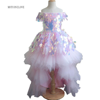 Holy First Communion Dresses For Girls High Low Pageant Dresses Puffy Tutu  Princess Wedding Birthday Party Flower Girl Dresses eloman 100% handmade tutu dress for girl birthday party princess flower girl tutu dresses for wedding and grand event
