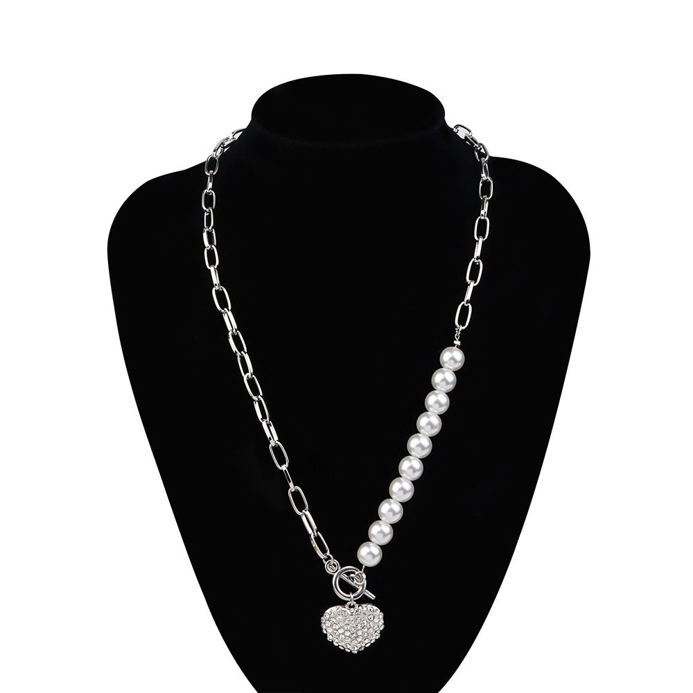 KMVEXO Fashion Women Cute Crystal Heart Love Pendant Collar Necklace 2020 Simulated Pearl Neck Chains Choker Necklace Girls Gift