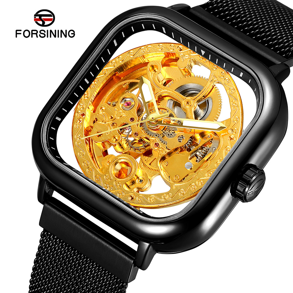 2019 Forsining Black Men Mechanical Watch Square Automatic Transparent Skeleton Dial Mesh Steel Men Watches Relogio Masculino|Mechanical Watches| |  - title=