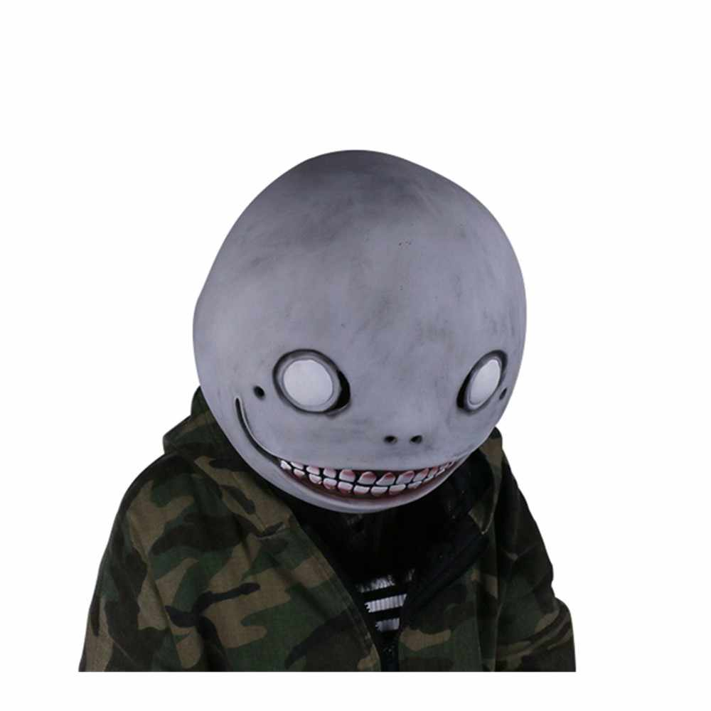 X-COSTUME NieR: Automata Emil Mask Gray Latex Mask Head Hood Gray Mask for Halloween Cosplay High Quality