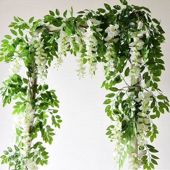 7ft 2M Wisteria Artificial Flowers Vine Garland Wedding Arch Decoration Fake Plants Foliage Rattan  Flowers Wall Decor flores garland flowers wedding decoration artificial hydrangea vine party plastic flowers wall decor rattan silk flower wisteria wreath