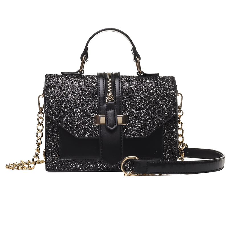 2019 Women's Bling Bling PU Leather Shoulder Bags Lady Solid Black And Burgundy Crossbody Chain Handbags Girl Fashion Sling Bags