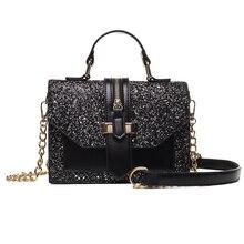 Bolsa de ombro feminina couro pu brilhante, cor preta e borgonha, corrente transversal, estilingue da moda para meninas, 2019 sacos de sacos