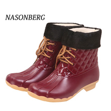Купить с кэшбэком NASONBERG Women's Rainboots Waterproof Shoes Woman Mud Water Shoes Rubber Lace Up PVC Boots Solid Fashion Rain Boots