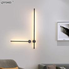 Luces de pared modernas para sala de estar, candelabro LED de mesita de noche, lámpara negra, decoración de iluminación para pasillo, Luminaria AC96V-260V