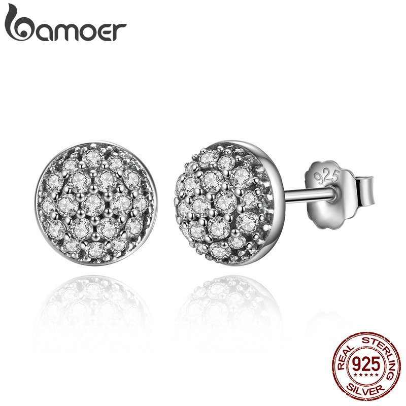 BAMOER Delicate 100% 925 Sterling Silver Dazzling Droplets, Clear CZ Small Stud Earrings Women Wedding Jewelry Brincos PAS488