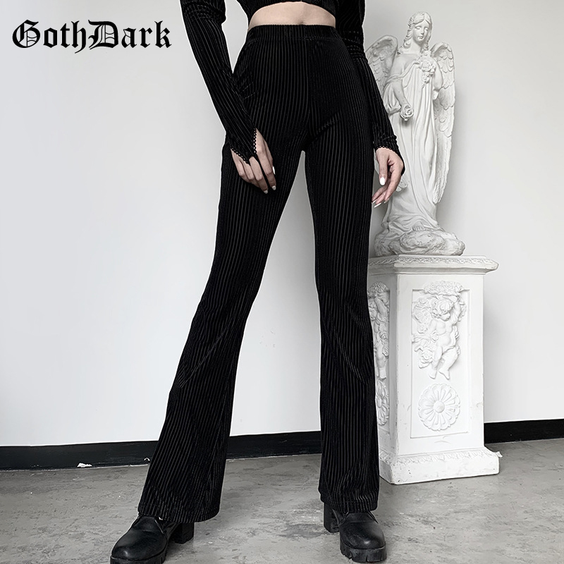 Goth Dark Black Vintage Gothic Women Pants Flare Harajuku Egirl Aesthetic Emo Grunge Punk Female Trousers Y2K Spring 2020 Chic
