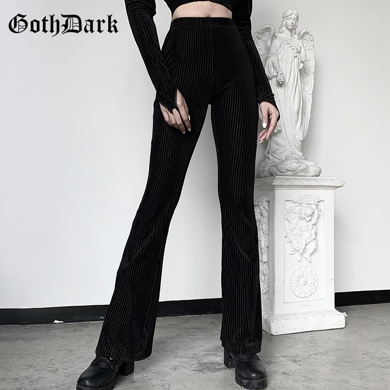 Goth Dark Vintage Streetwear Women Pants Flare Harajuku E-girl Aesthetic Emo Grunge Female Trousers Y2K Spring 2021 Chic