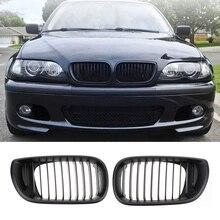 Автомобильная матовая Черная передняя решетка радиатора для BMW E46 4-Door 02-05 320i 325Xi 330Xi, 2 шт., автомобильные аксессуары, инструмент для интерьера
