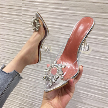 Summer Women Shoes Elegant Pointed Toe Rhinestones High Heels slipper Wedding Shoes Crystal Clear Sandals Slippers silver white gold silver high heels summer women sandals shiny sequined pointed toe thin heel female shoes wedding party shoes women stiletto