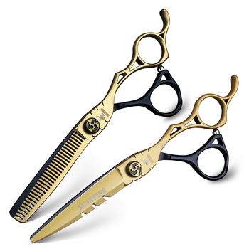 цена на 6 inch hairdressing scissors barber cutting and thinning scissors 440C stainless steel hair scissors set 2 color stitching