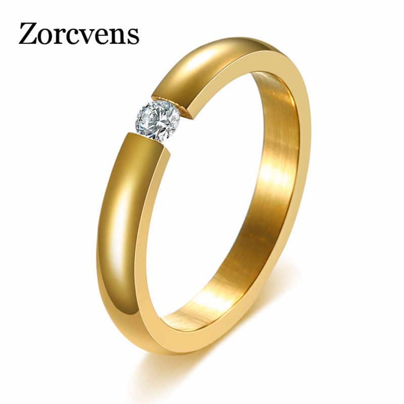 ZORCVENS Gold สีแหวนสแตนเลสรอบ Zirconia แหวนคริสตัลคริสตัลสำหรับเครื่องประดับงานแต่งงานของผู้หญิง
