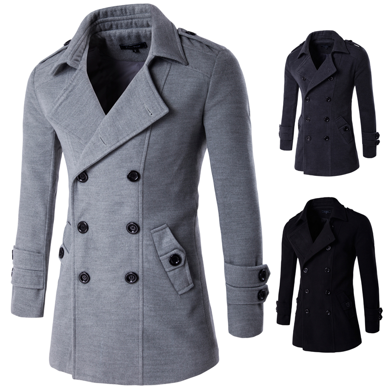 Coats Blends Wool Autumn Men's Winter High-Quality Luxurious New Solid title=