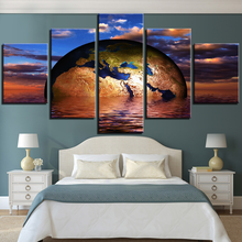 Wall Art Canvas Painting Landscape Picture Home Decor Living Room HD Prints 5 Piece The Earth in the Sea Poster Sunset Framework