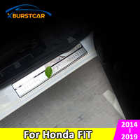 Car Door Sill Plates Fit for Honda Fit 2014 2015 2016 2017 2018 2019 Stainless Steel Door Sill Strip Scuff Plate Pedal Stickers