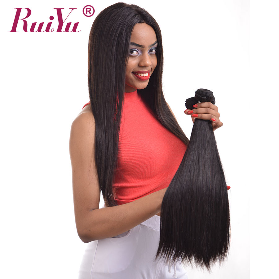 Image 3 - Straight Hair Bundles With Closure Brazilian Hair Weave Bundles With Closure RUIYU Human Hair With Closure Non Remy Hair Extens-in 3/4 Bundles with Closure from Hair Extensions & Wigs