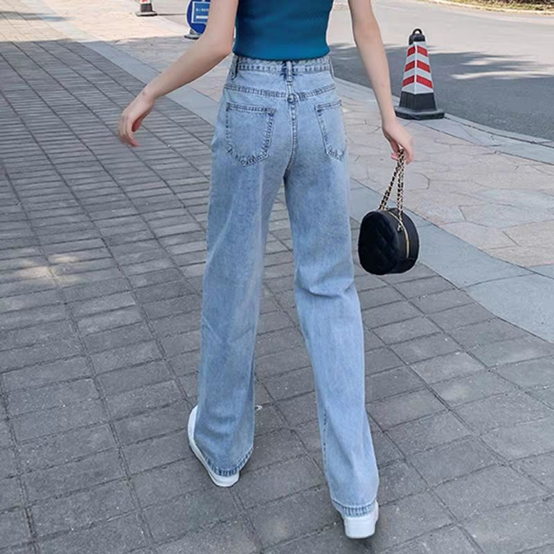 Floor-length Jeans 2020 New High-waisted Instagram Korean Students Slim And Wide-legged Pants
