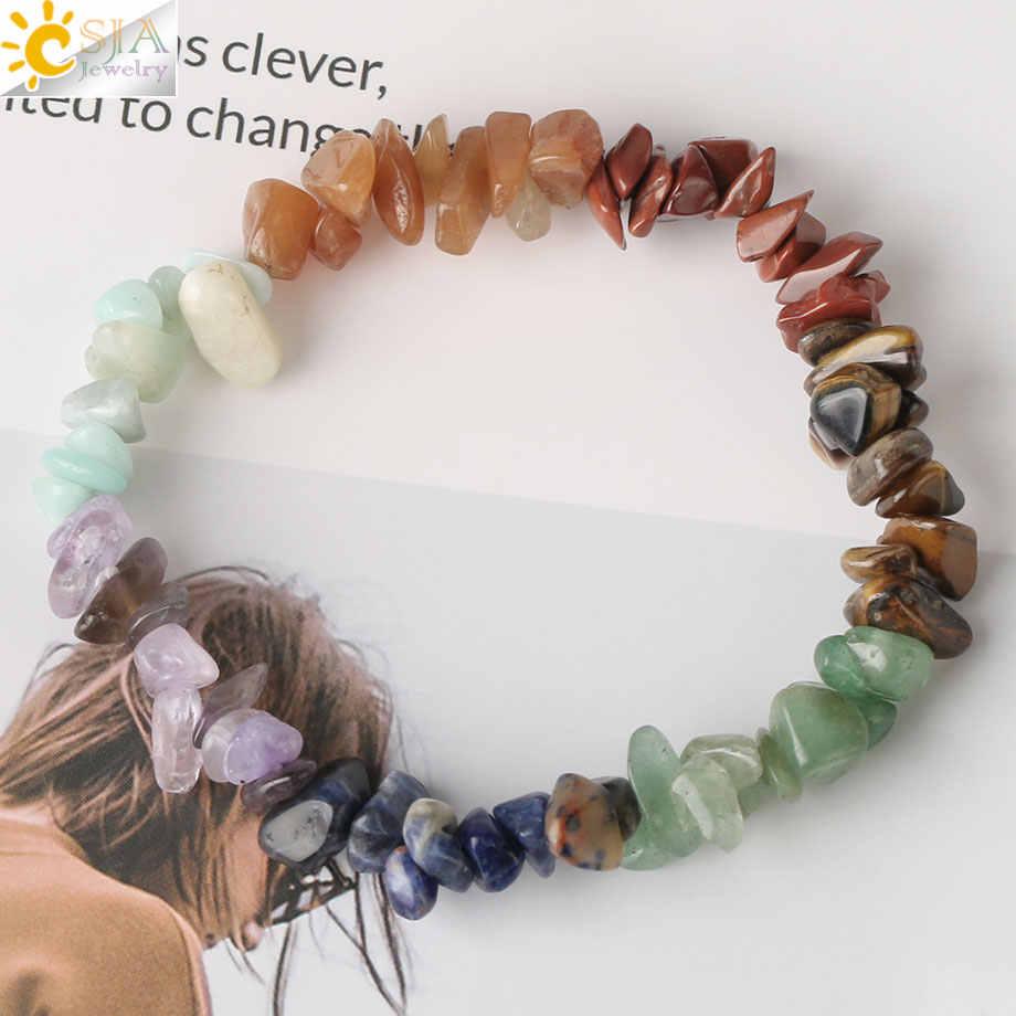 CSJA Reiki Natural Stone 7 bransoletki Chakra rozdrobnione żwirowe koraliki bransoletka uzdrawiająca bransoletka dla kobiet dziewczyna prezent 2020 Pulseras G295