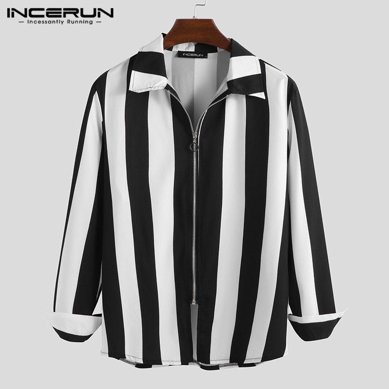 INCERUN Fashion Striped Shirts Men Long Sleeve Zippers Turn-down Collar Streetwear 2020 Fitness Outerwear Chic Mens Shirt S-5XL