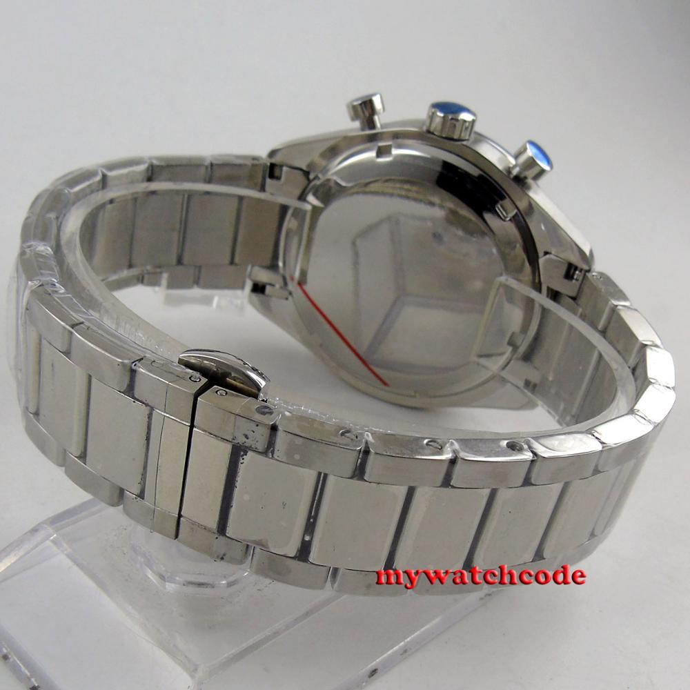 Chegam novas marca de luxo superior 40mm corgeut preto dial 24 horas aço inoxidável pulseira quartzo cronógrafo completo relógio masculino c176 - 2