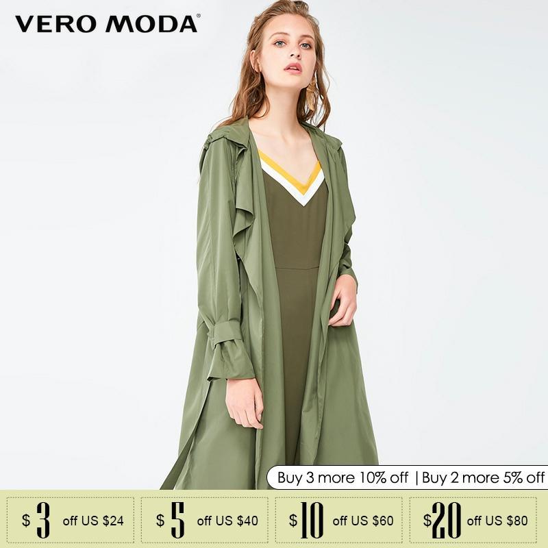 Vero Moda Fallhooded Lace-up Coat Lapels Women Trench Coat  318321504