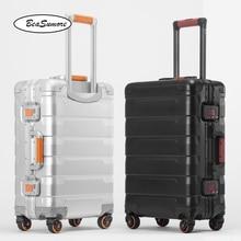 BeaSumore 100% アルミ合金レトロローリング荷物スピナー 20/24 インチ高容量トロリー男性ビジネスキャビンスーツケースホイール