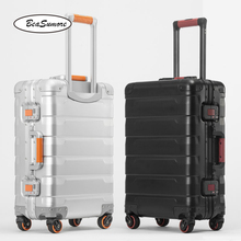 BeaSumore 100% aluminum alloy Retro Rolling Luggage Spinner 20/24 inch High capacity Trolley Men Business Cabin Suitcase Wheels