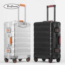 BeaSumore roue valise pour hommes, 100%, style rétro en alliage daluminium, chariot à grande capacité 20/24 pouces