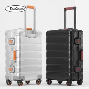 Image 1 - BeaSumore roue valise pour hommes, 100%, style rétro en alliage daluminium, chariot à grande capacité 20/24 pouces